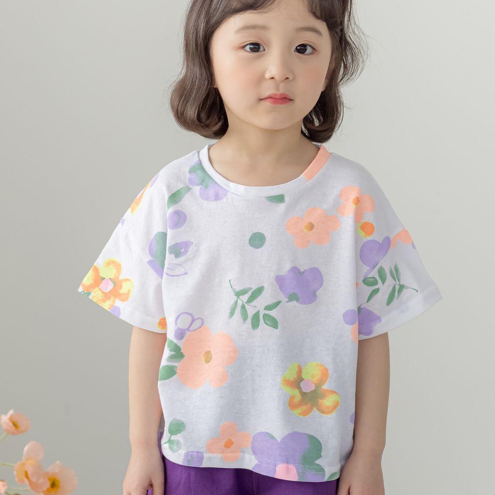 韓國 Orange Mom - 水彩花朵上衣-象牙白