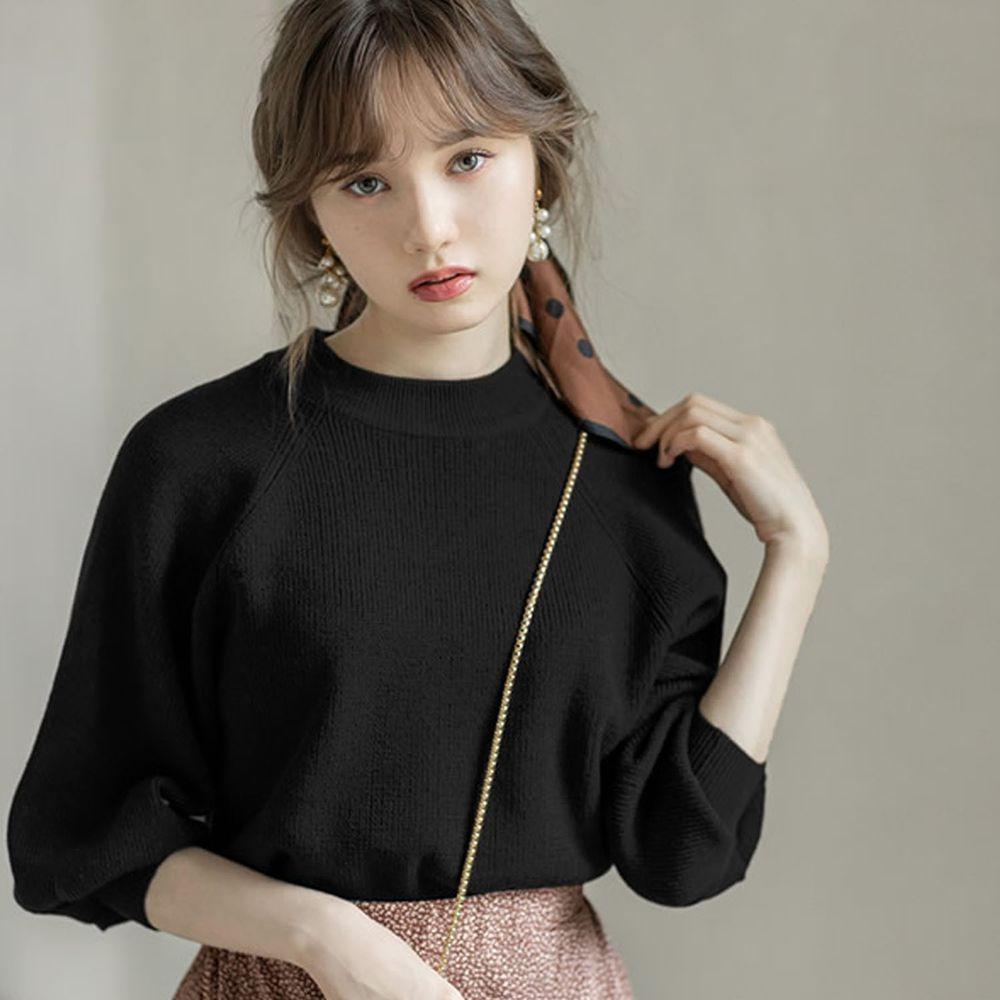 日本 GRL - 小高圓領七分袖薄款針織上衣-黑