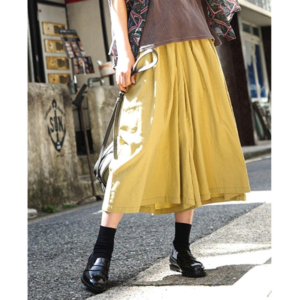 日本 zootie - 麻料舒適寬褲裙-芥末