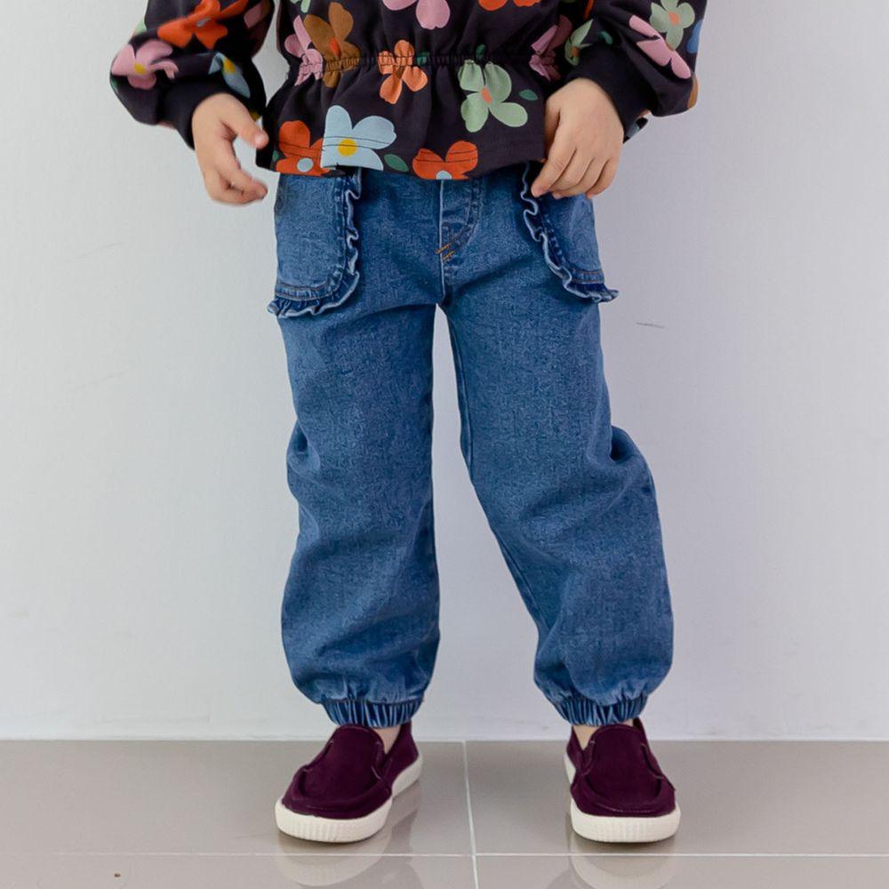 韓國 ERU - 荷葉裝飾口袋單寧長褲