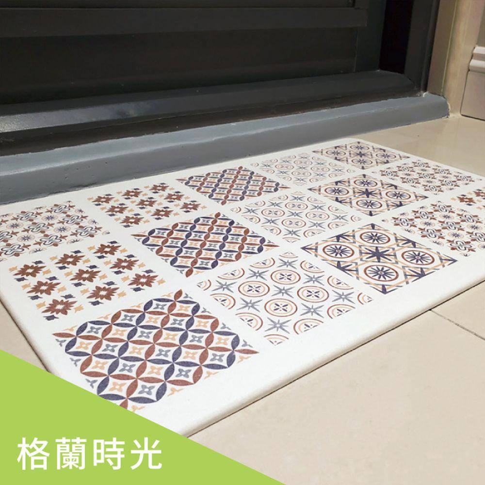 森呼吸 - 花磚印象超薄矽藻土/珪藻土地墊/2入組-日本板材-格蘭時光 (L)-45x30x0.6cm