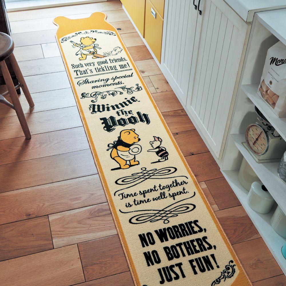 日本千趣會 - 耳朵造型迪士尼長條型腳踏墊(廚房/臥室)-維尼-暖黃