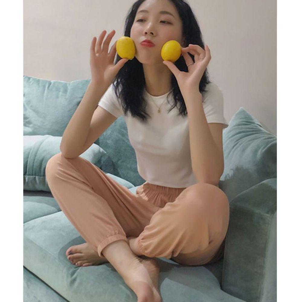 莫代爾棉質居家休閒長褲-縮口-橘粉色 (F)