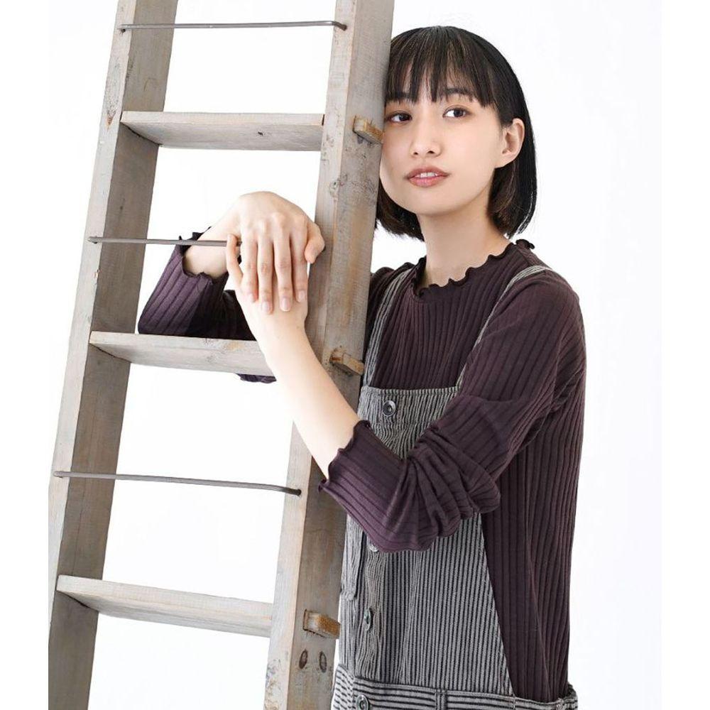 日本 zootie - 輕薄木耳邊粗羅紋貼身長袖上衣-深紫