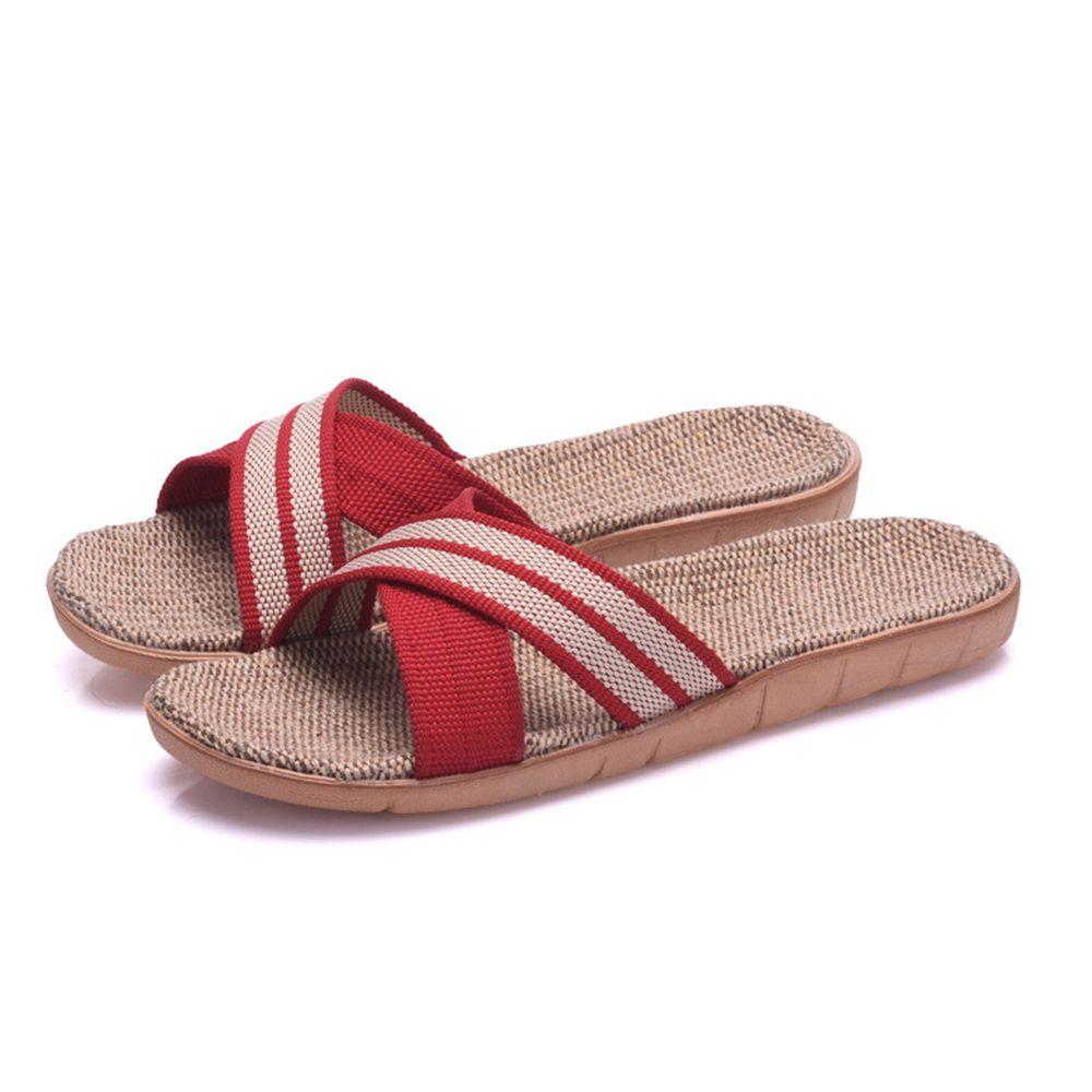 亞麻室內拖鞋-X型-紅色