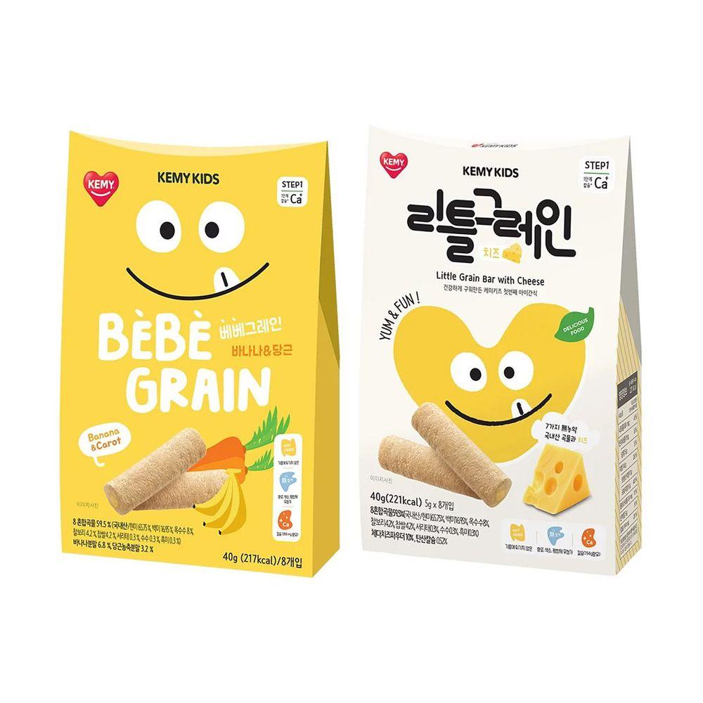 KEMY KIDS - 貪吃凱米 穀物小捲心兩入組-香蕉紅蘿蔔+起司