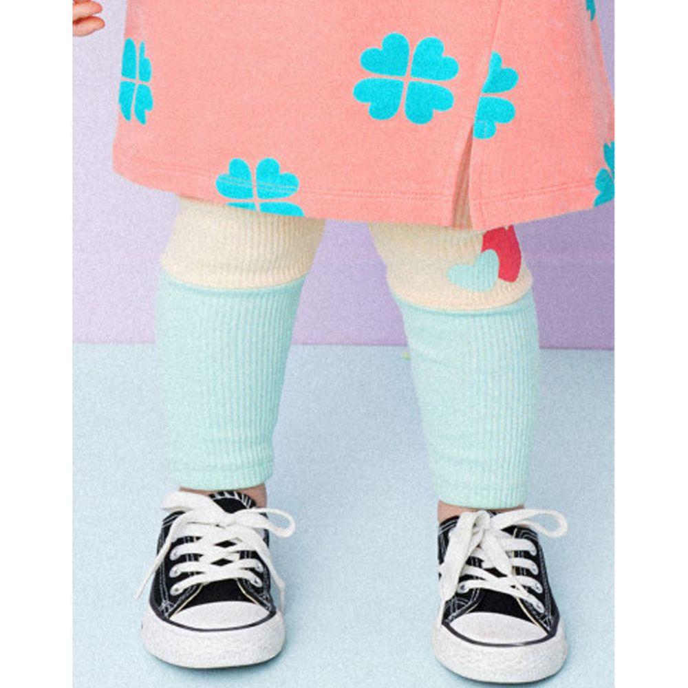 韓國 HEJMINI - 愛心拼接色針織內搭褲-米白X薄荷綠