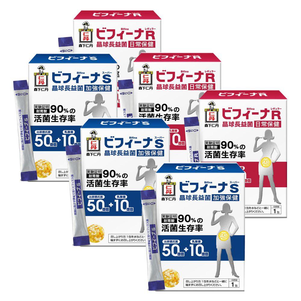 日本森下仁丹 - 50+10晶球長益菌加強版(30條/盒)X3盒+25+10晶球長益菌基礎版(30條/盒)X3-家庭號-長保健康親子組