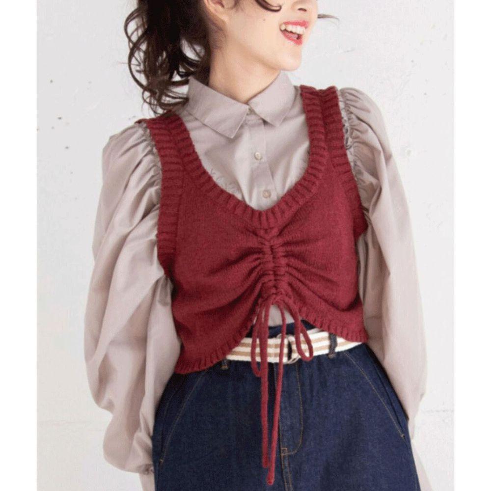 日本 Bou Jeloud - 抽繩設計V領針織小背心-酒紅