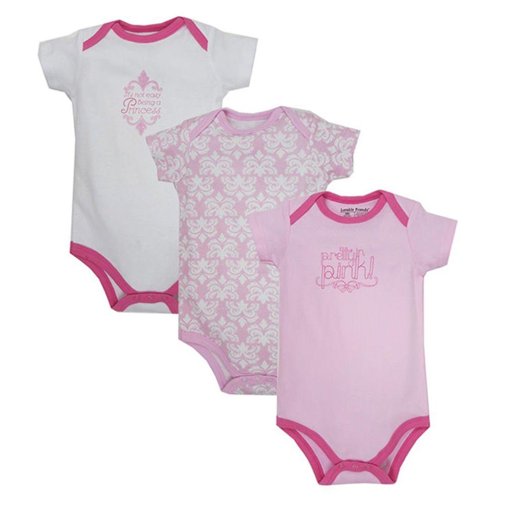 美國 Luvable Friends - 嬰幼兒短袖包屁衣3件組-白色圖騰