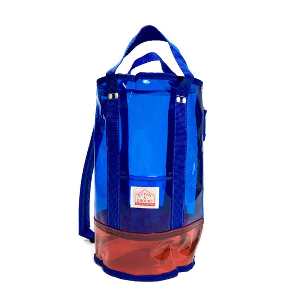 日本 OCEAN&GROUND - 透明PVC防水圓筒包(側背/手提)-藍 (φ20x35cm)