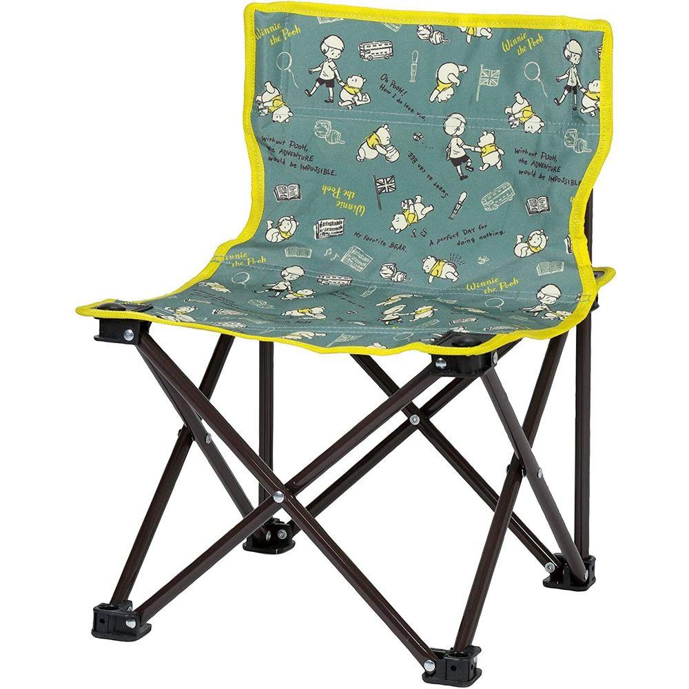 日本 Pearl 金屬 - 迪士尼 輕巧摺疊椅-維尼-綠X黃 (耐重60kg)