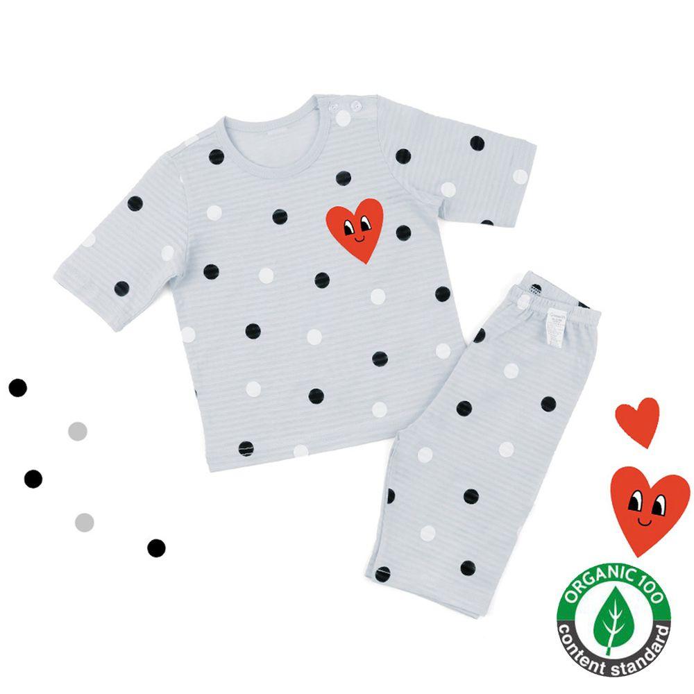 韓國 Maykids - (剩150,160號)有機棉透氣輕薄七分袖家居服-點點愛心-灰