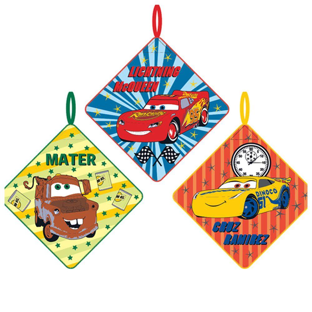 日本代購 - 卡通可掛式方巾/擦手巾三件組-CARS-綠藍紅 (28x28cm)