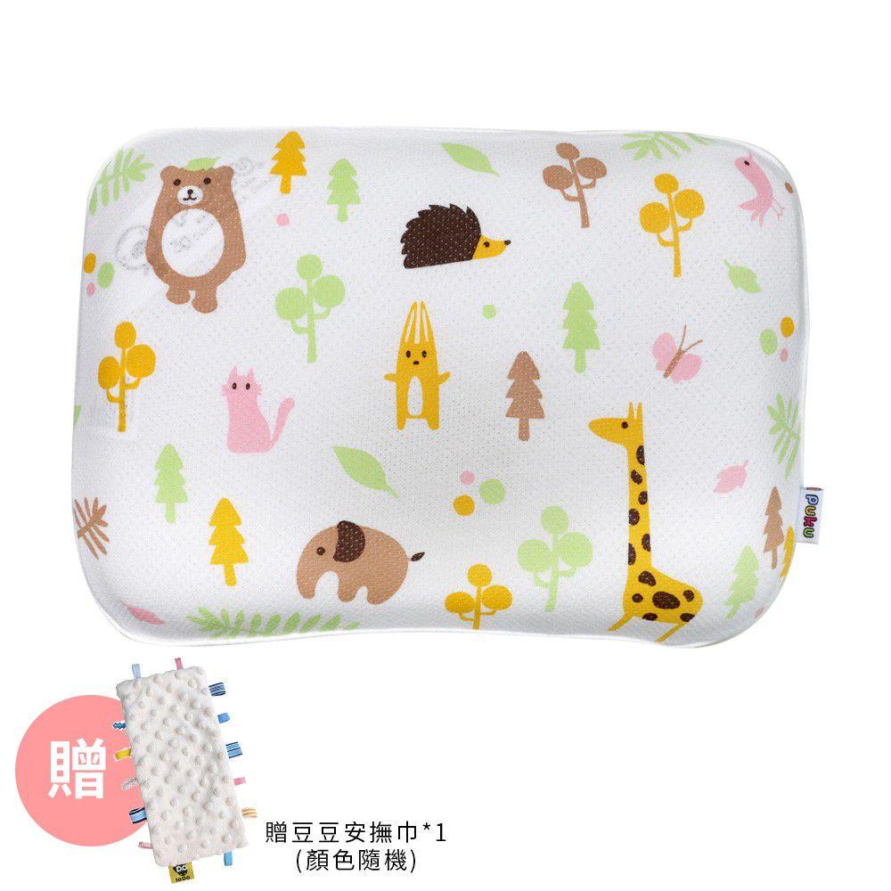 PUKU 藍色企鵝 - Air護頭型3D嬰兒枕-動物森林-買贈樂豆安撫巾*1(顏色隨機)