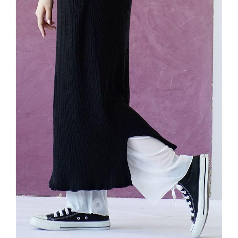 日本 zootie - 時尚透膚層次感穿搭內搭寬版長褲-網紗-白