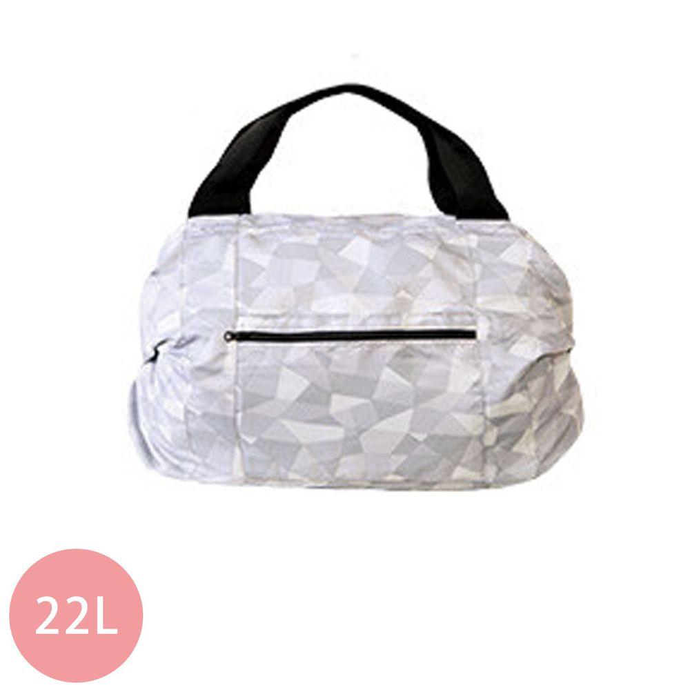 日本 MARNA - Shupatto 秒收摺疊防潑水旅行袋(可掛行李箱手把)-幾何灰白 (46x35x17cm)-耐重15kg / 22L