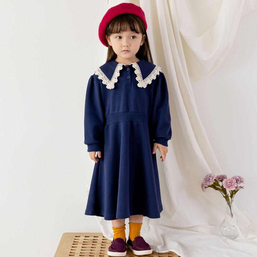 韓國 ERU - 雕花蕾絲滾邊水手領縮腰洋裝-海軍藍
