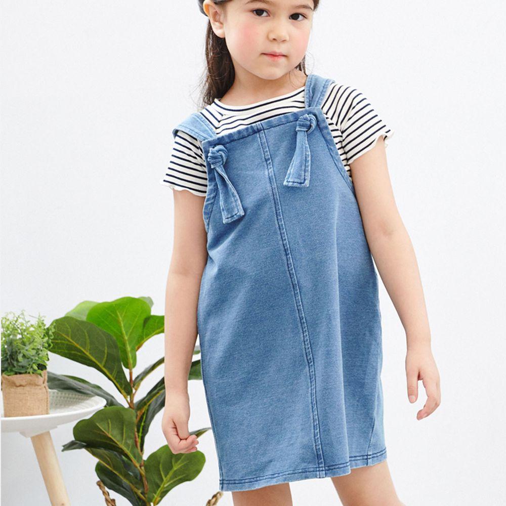 麗嬰房 Little moni - 針織仿牛仔吊帶洋裝-牛仔藍