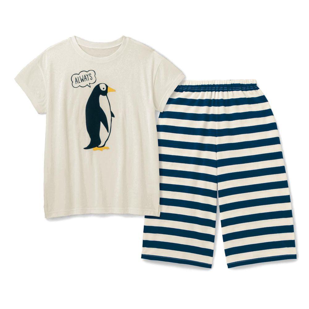 日本千趣會 - 純棉涼爽舒適短袖家居服(媽媽)-企鵝-白