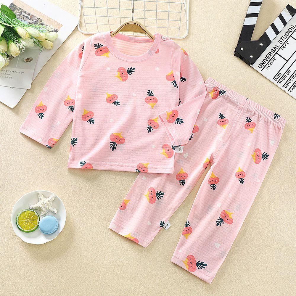 超薄款竹節棉睡衣家居服長袖套裝-粉紅蘿蔔