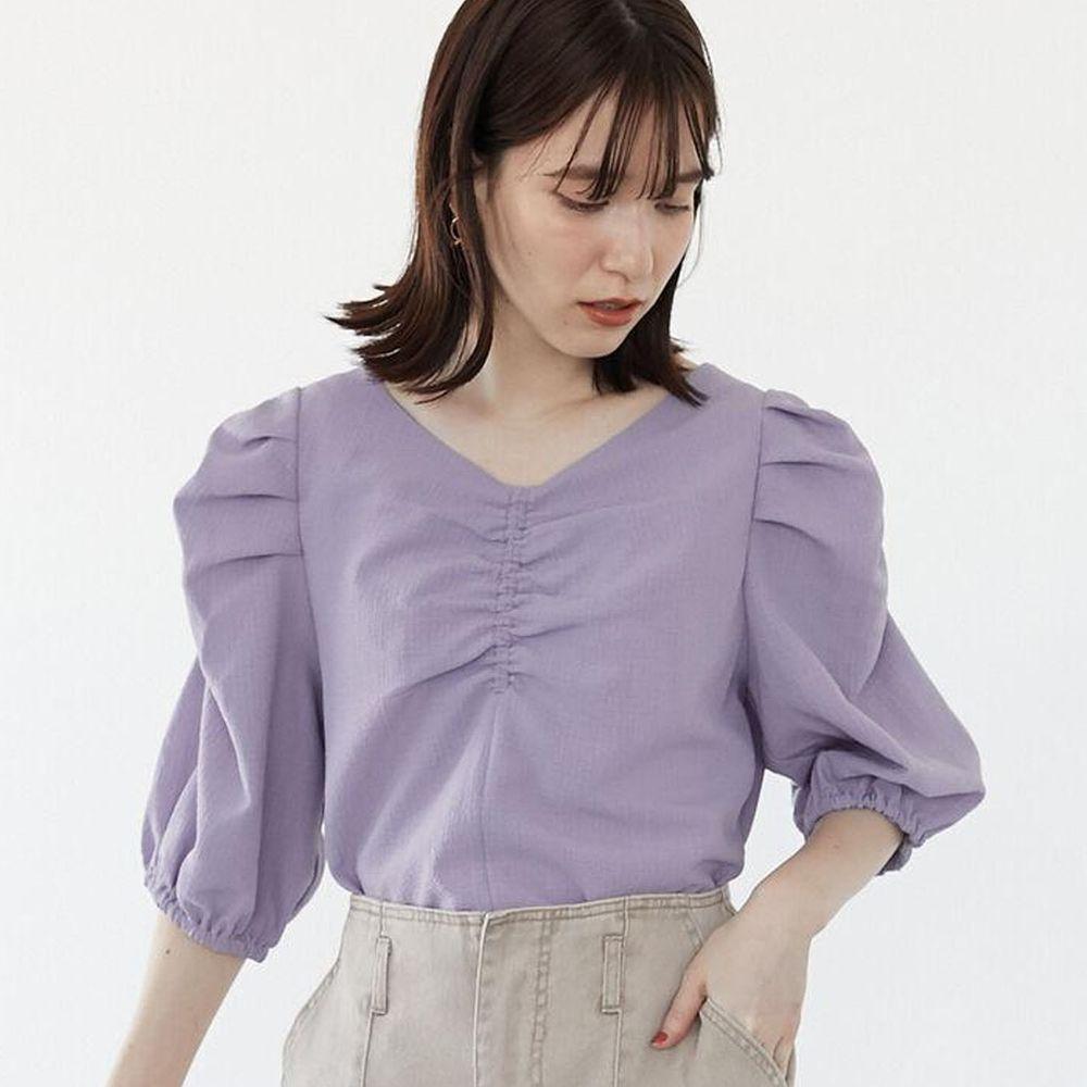 日本 ELENCARE DUE - 前後2way浪漫抓皺短袖上衣-紫