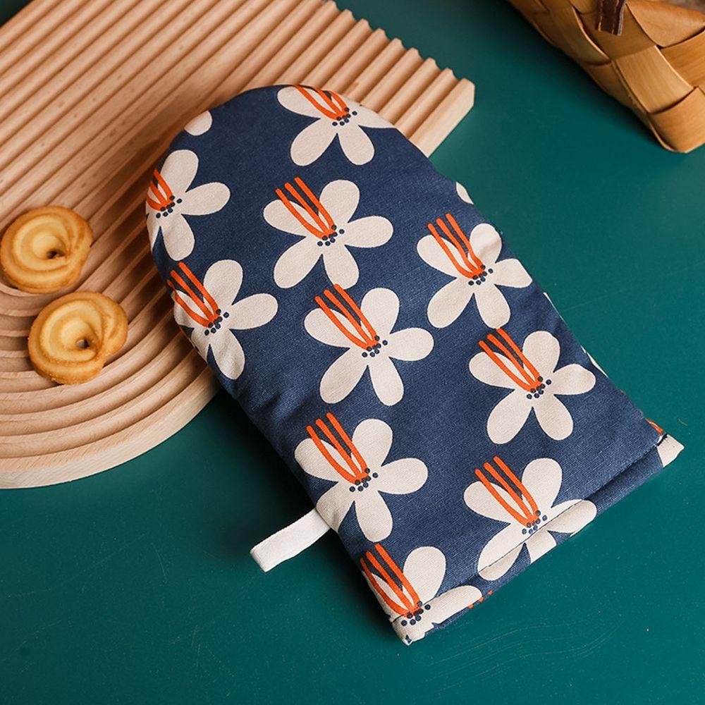 可愛文藝風隔熱手套-藍色花瓣-單入