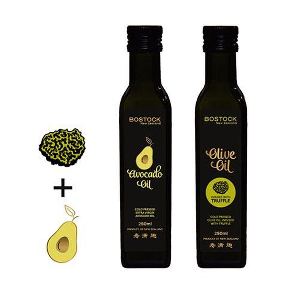 壽滿趣-紐西蘭BOSTOCK - 頂級優惠兩件組-頂級冷壓初榨酪梨油+松露風味橄欖油-250ml*2
