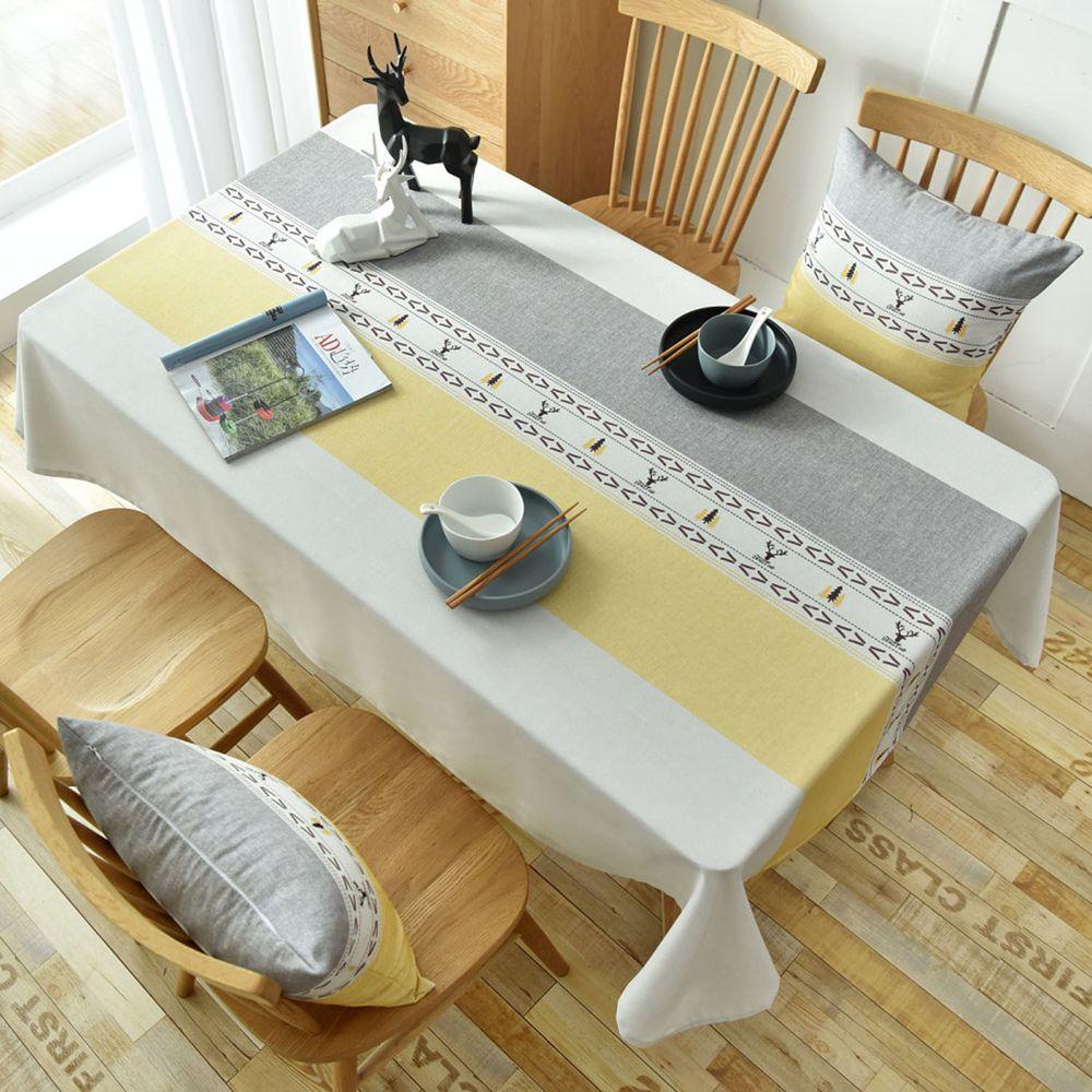 防水防油免洗桌布-北歐圖騰-黃白色