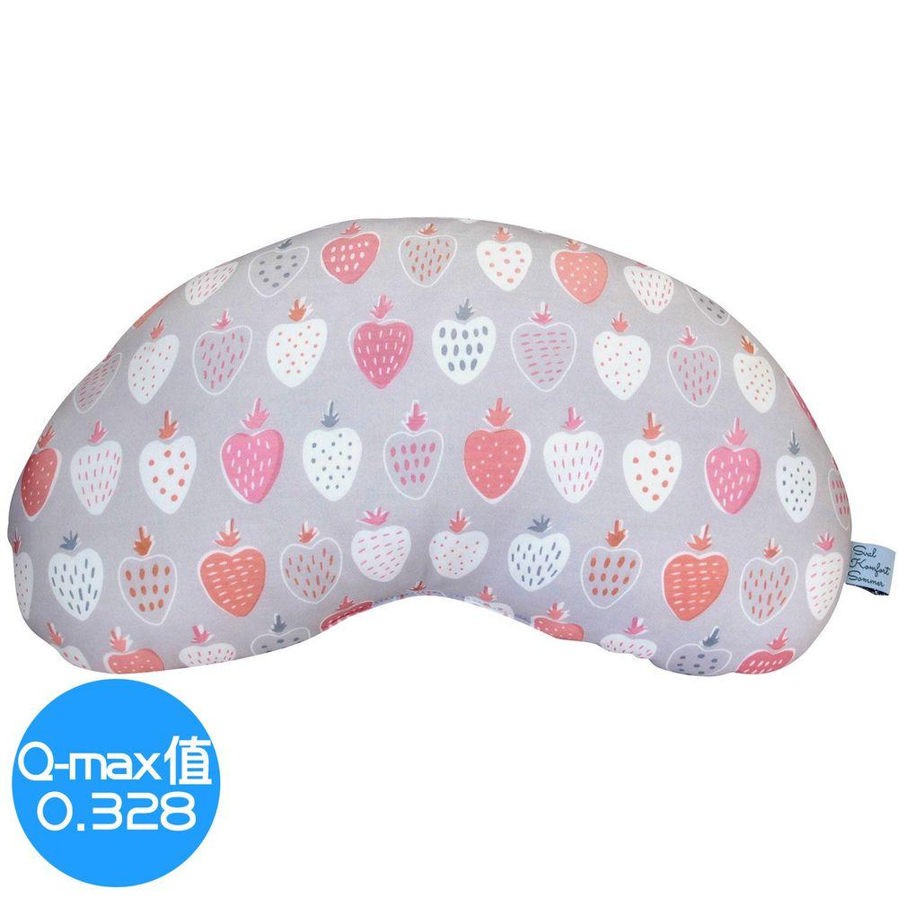 日本 DAIKAI - 接觸涼感豌豆枕/午睡枕/枕頭-草莓-灰粉 (45x25cm)