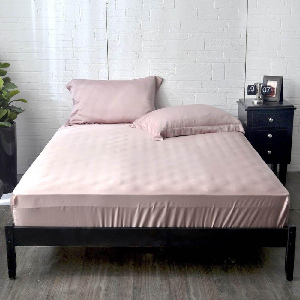 格蕾寢飾 Great Living - 義大利La Belle《簡約純色》天絲床包枕套組-粉色