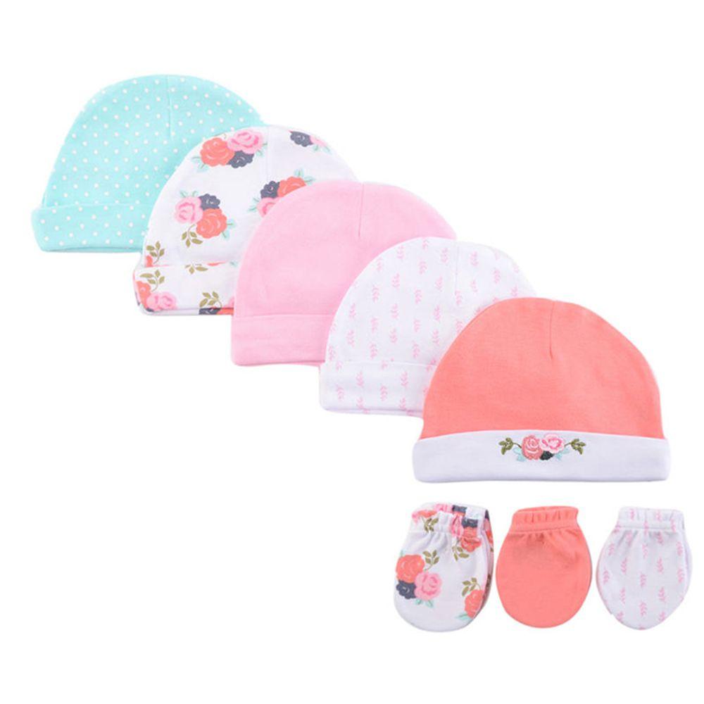 美國 Luvable Friends - 100%純棉新生兒棉帽 保暖帽5件組+防抓手套 護手套3入組-水藍點點 (0-6M)