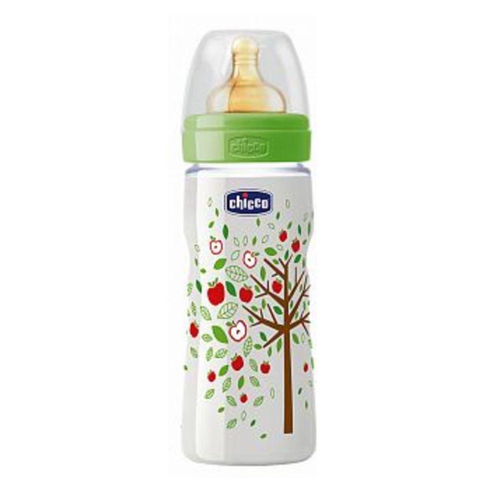 義大利 chicco - 舒適哺乳-自然田園乳膠PP奶瓶-特大(4m+) (330ml)-三孔