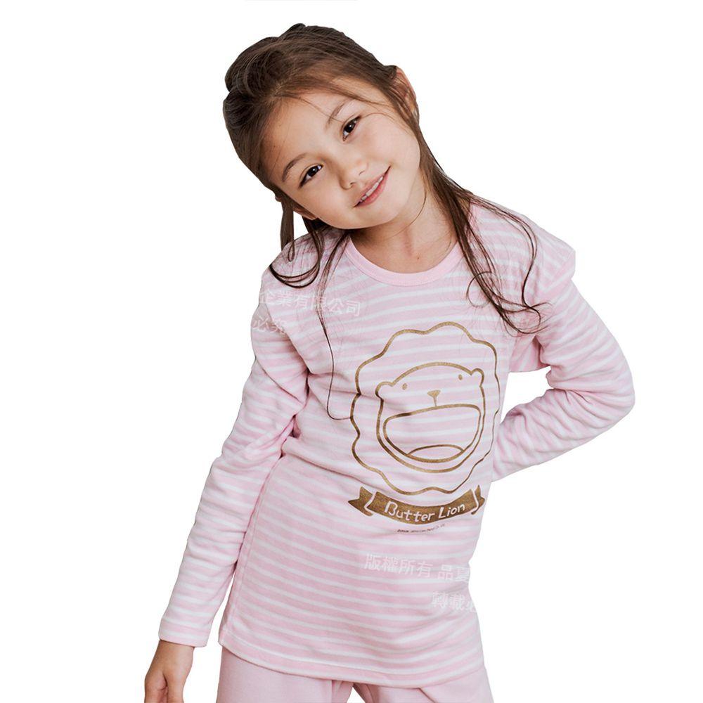 GIAT - 奶油獅保暖長袖上衣(圓領)-粉色條紋