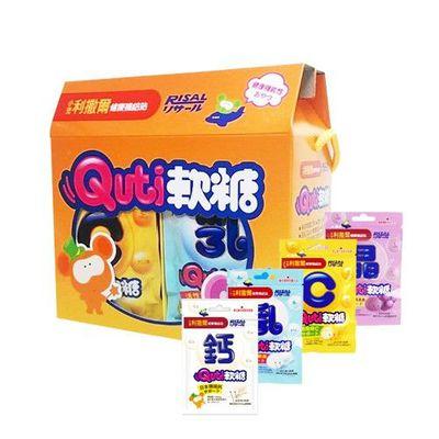 健康補給站 - QUTI軟糖禮盒2盒組-(乳酸菌+維他命C+葉黃素+鈣配方/各3包)盒x2組-每包10粒/24包