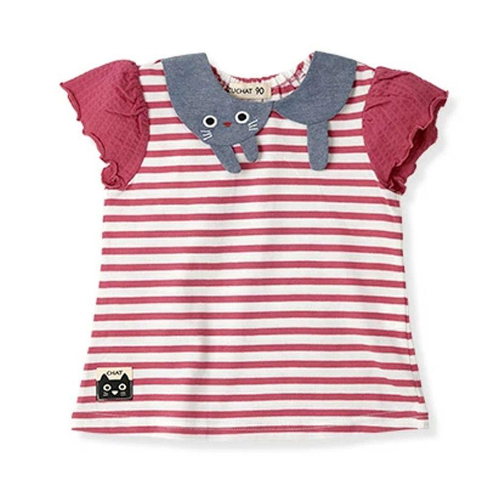 日本 ZOOLAND - 純棉拼接短T-小貓領巾條紋-紅