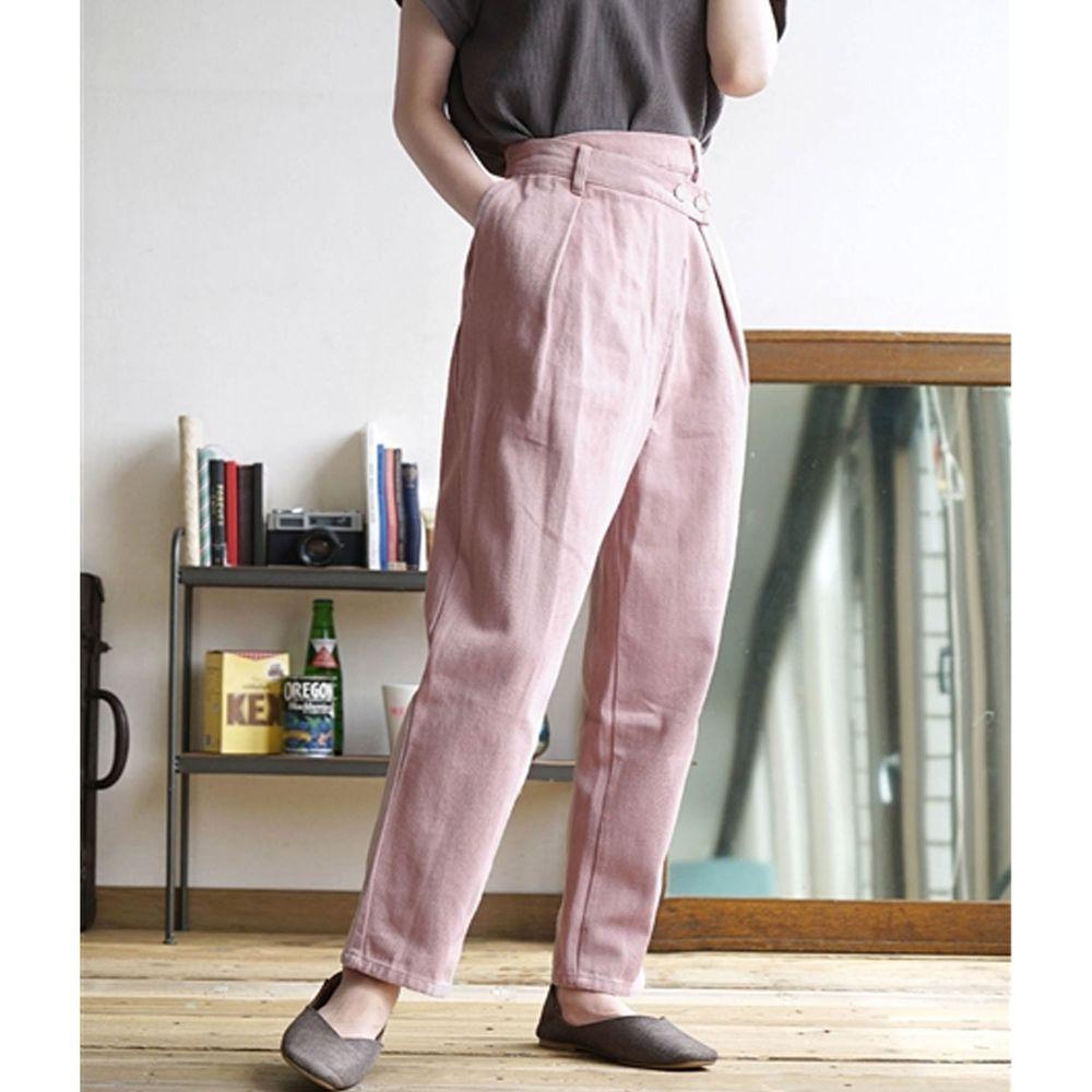 日本 zootie - 純棉復古設計感哈倫單寧長褲-粉