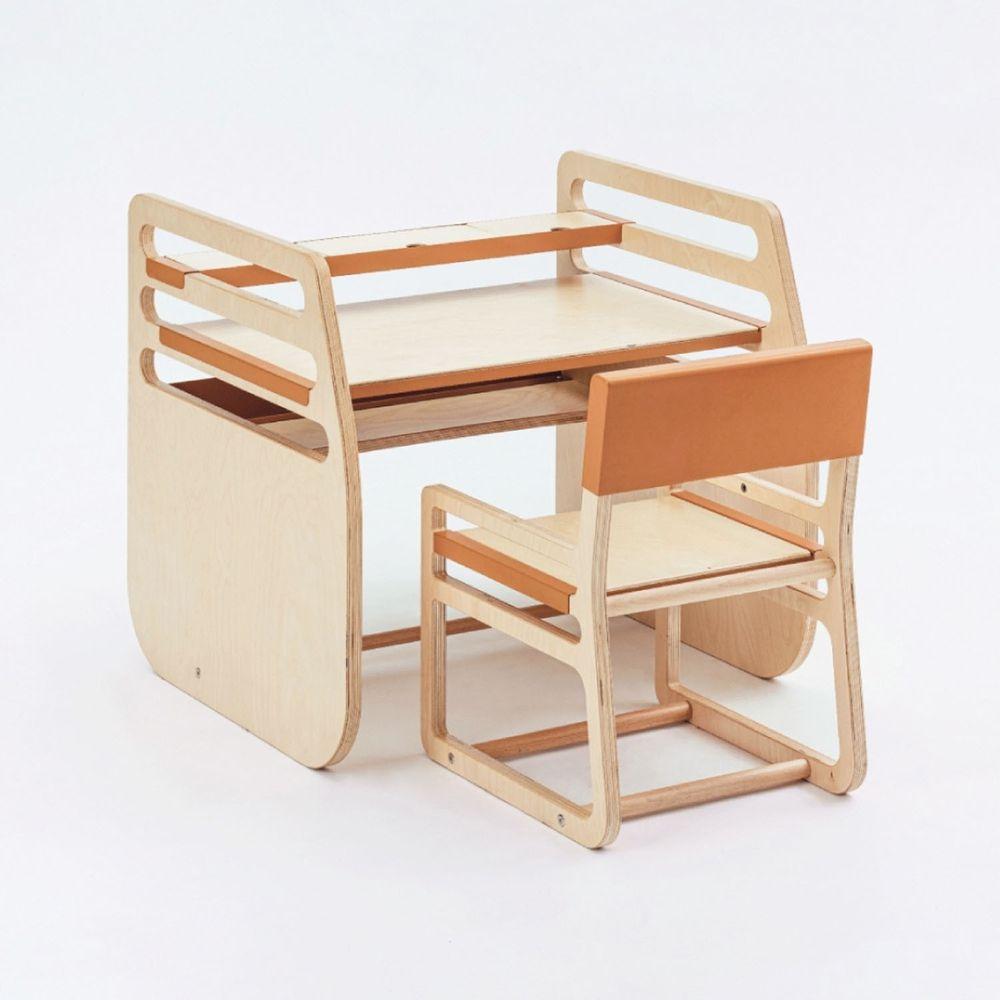 走走家具 - 兒童成長桌椅(含一桌一椅)-短版-內斂橘 (75 / 64 / 69 (cm))