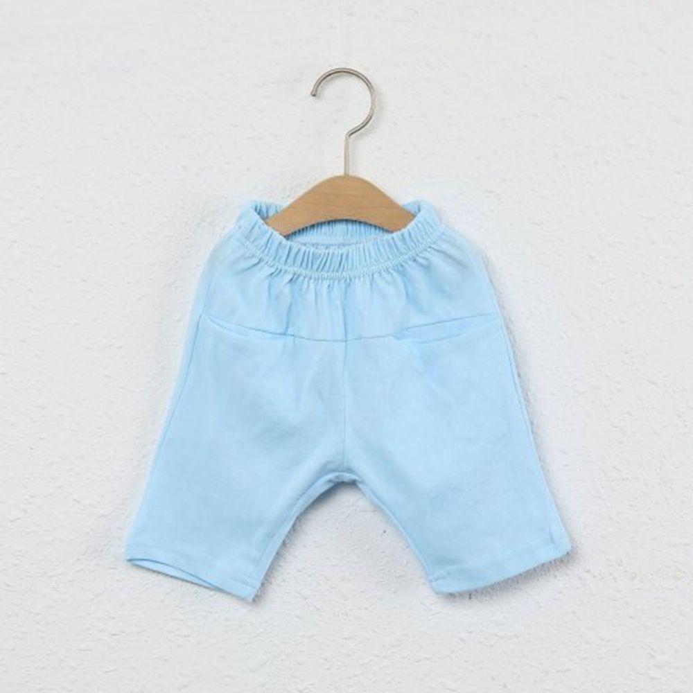 韓國製 - 平口袋純棉7分褲-天藍