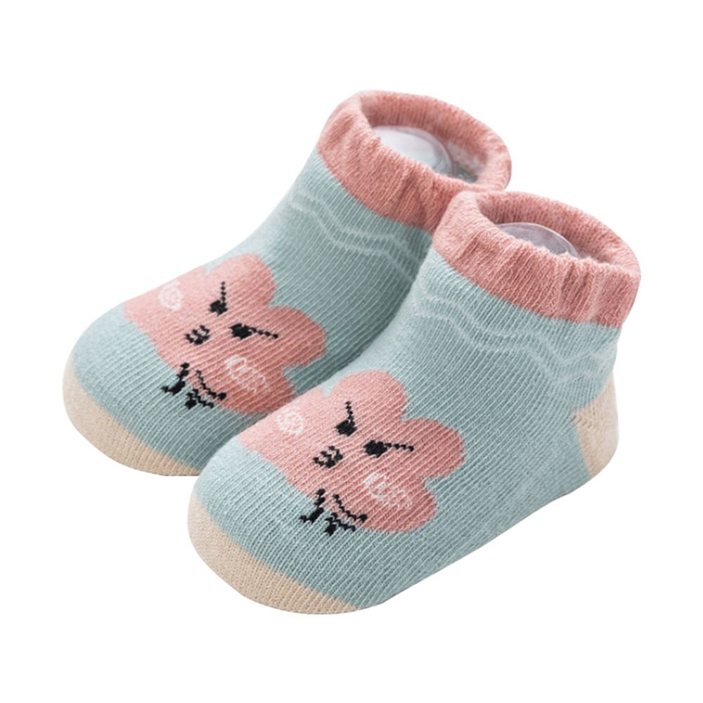 JoyNa - 雲朵天氣船襪 短襪(底部止滑)-綠色粉雲朵