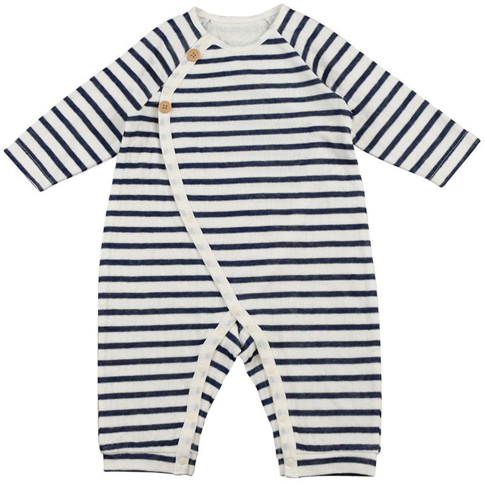 akachan honpo - 有機棉長袖兔裝-深藍色