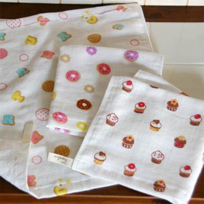 夢幻下午茶紗布方巾三件組-小餅乾/杯子蛋糕/甜甜圈 (34x34cm)