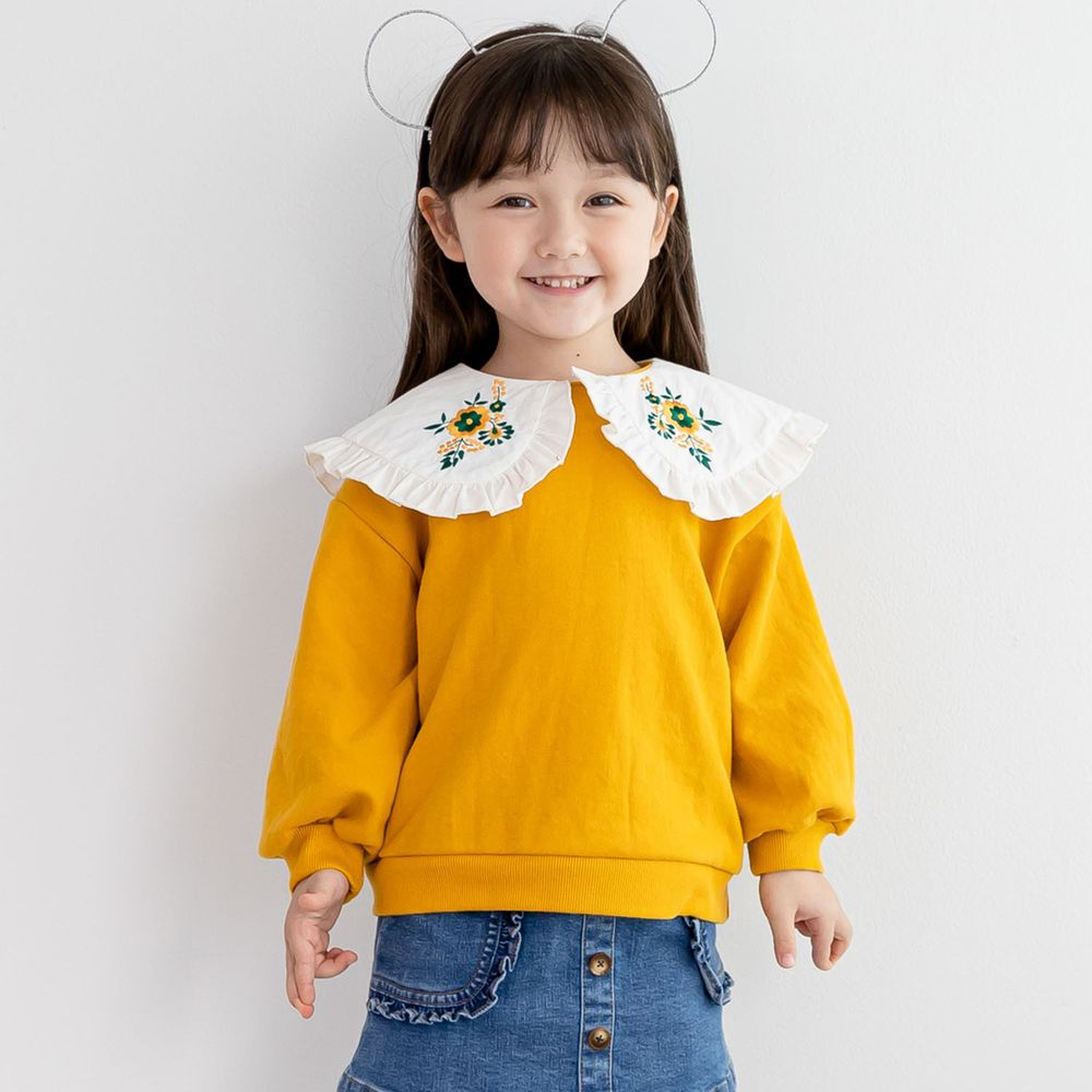 韓國 ERU - 刺繡花朵白領T-芥末黃