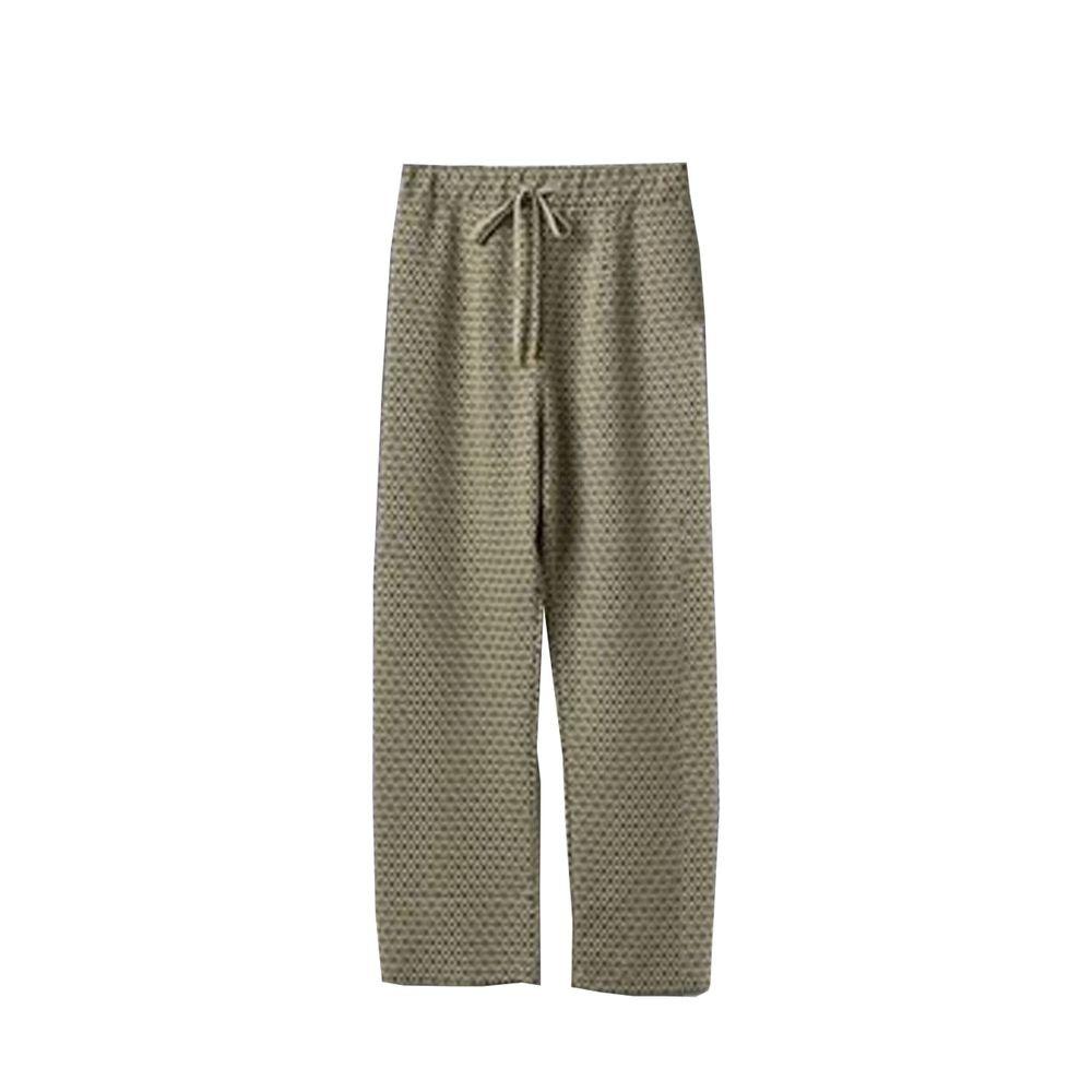 日本 ELENCARE DUE - 滿版圖騰綁帶長褲-黃底