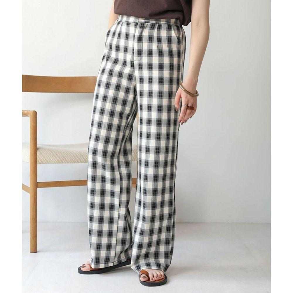 日本 Bou Jeloud - 格紋後腰伸縮寬褲-黑
