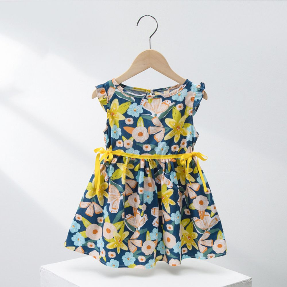 黃蝴蝶腰帶純棉飛飛袖洋裝-藍色花朵