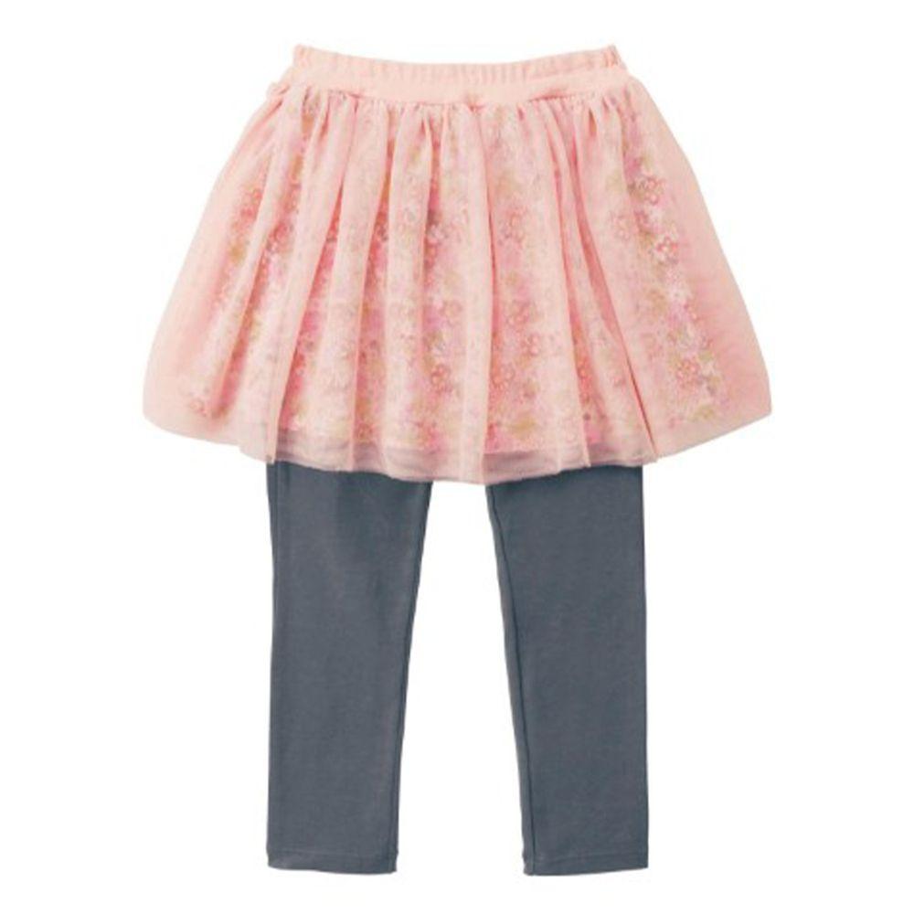 日本千趣會 - 迪士尼碎花薄紗內搭褲裙-米妮-粉X灰