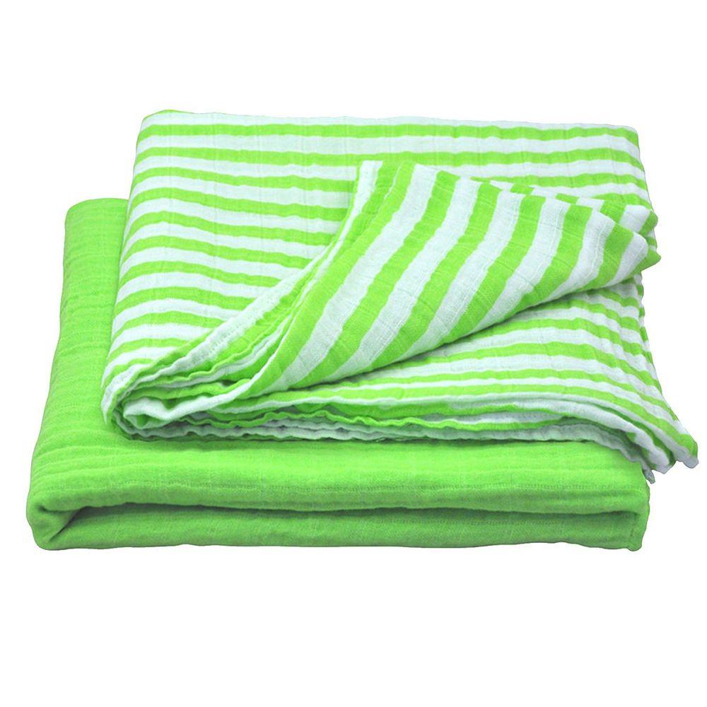 美國 green sprouts - 有機棉細紗浴巾/包巾2入組-草綠組 (單一尺寸)