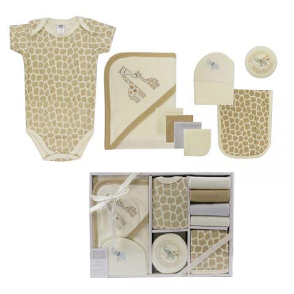 美國 Luvable Friends - 嬰幼兒包屁衣與長褲9入禮盒組-長頸鹿 (0-3M)