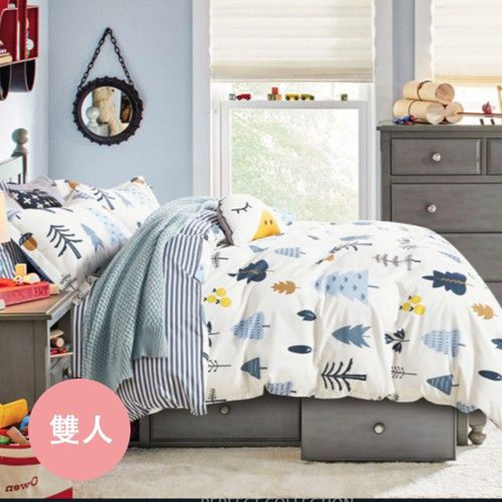 PureOne - 極致純棉寢具組-月光森林-雙人鋪棉兩用被套床包四件組